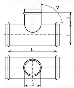 Тройник круглый переходной с малым отводом