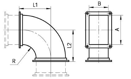 Отвод 90 градусов прямоугольный