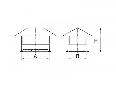 Зонт крышный для прямоугольного оцинкованного воздуховода