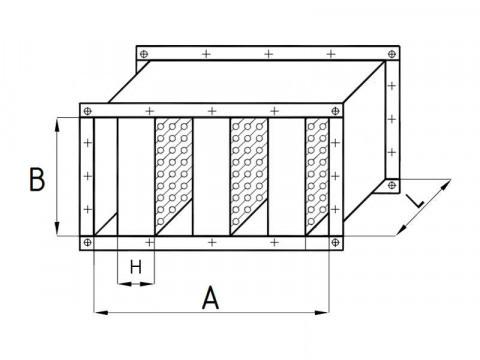 Пластинчатый шумоглушитель ГПП для прямоугольных оцинкованных воздуховодов